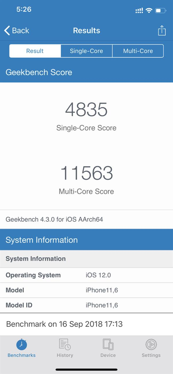 iPhone Xs Geekbench