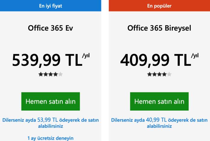 Office 365 fiyatı