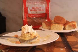 Delicious Bread Pudding made with King's Hawaiian Dinner rolls!