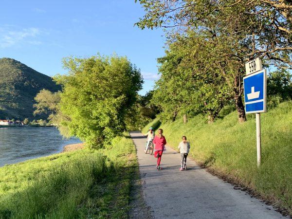 Children on the Danube Cycle Path near Arnsdorf