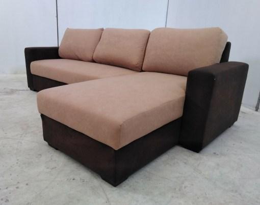 Sofá chaise longue de color marrón claro - Rafael