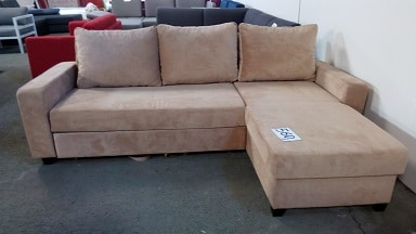 Sofa Bed with Chaise and Storage Crema