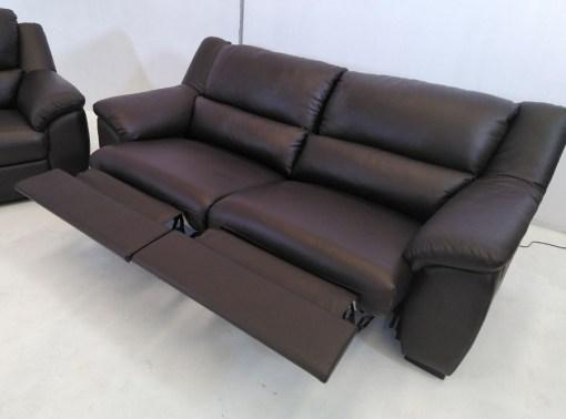 Sistema relax de sofá de 3 plazas. Conjunto de sofás relax de piel natural de color marrón- Leon