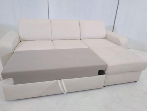 Sofá cama con chaise longue - Costa. Piel natural de color beige