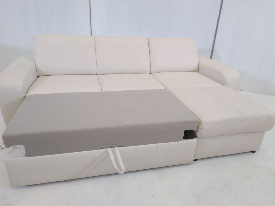 Sof cama con chaise longue costa piel natural de color for Sofa piel chaise longue