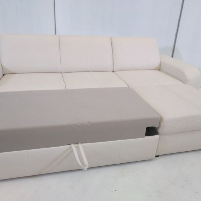 Sofá cama con chaise longue - Costa. Piel natural de color beige