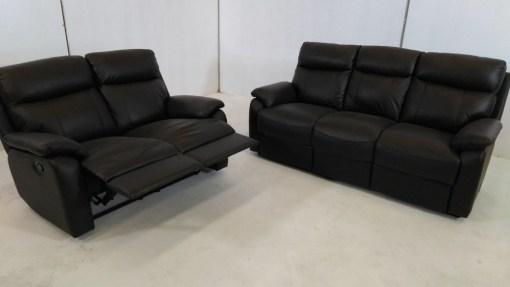 Conjunto de 2 sofás de piel con relax 3+2 - Manhattan