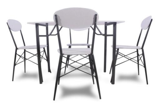 Set de comedor económico en blanco y gris. Mesa y 4 sillas - Familio