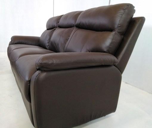 Sofá 3 plazas con relax de conjunto de 2 sofás de piel - Manhattan