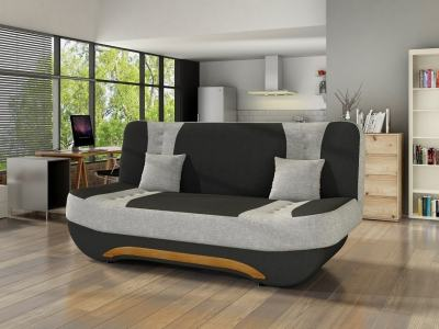 Compact Folding Sofa - Olivia. Black and light grey fabrics - 08
