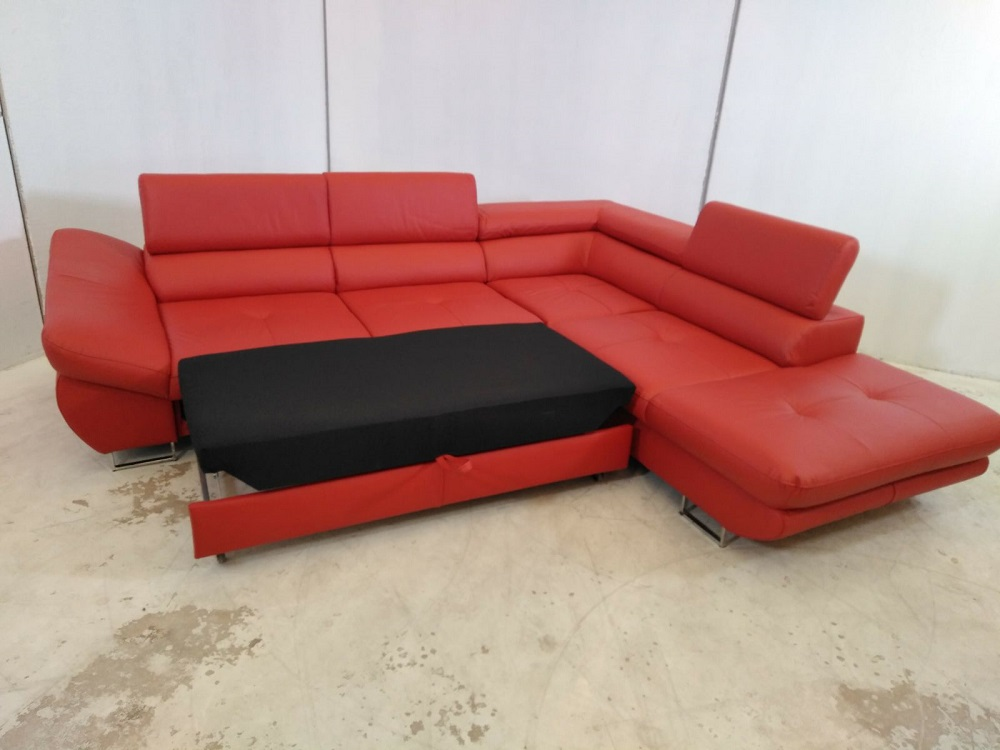 Red Real Leather Corner Sofa With Defects Fabio Don