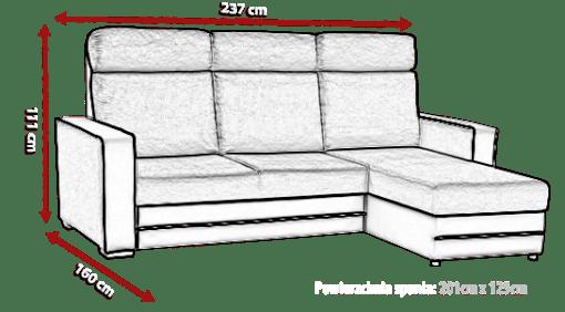 Medidas de sofá chaise longue cama tapizado en tela de color azul - Miami