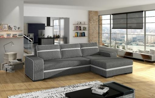 Sofá chaise longue derecha cama gris con arcón - Bermuda