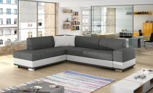Modern Corner Sofa Bed with Cushions (Left Corner) - Barbados. Grey Fabric