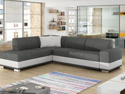 Modern Corner Sofa Bed with Cushions (Left Corner) - Barbados. Grey Fabric