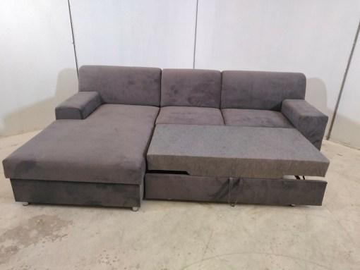 Sofá chaise longue cama con almacenaje. Gris - Diego