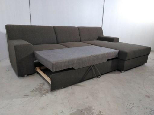 Sofá chaise longue cama con almacenaje. Marrón - Diego