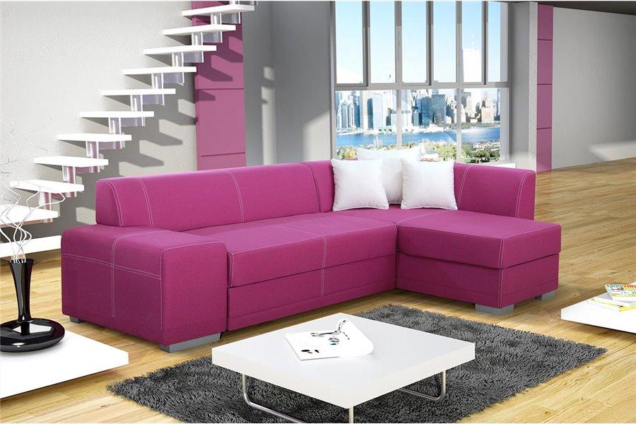 Pink Corner Sofa Bed with Storage - Bonn - Don Baraton