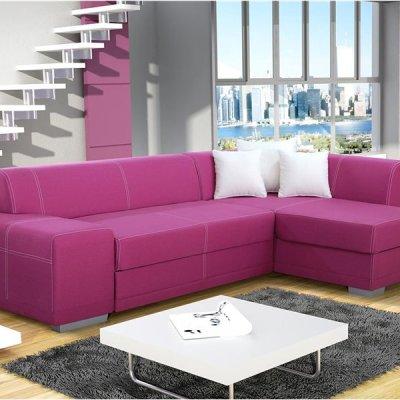 Sofá rinconera de color lila (violeta) con cama y arcón - Bonn