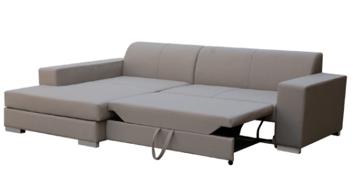 Pull-out Bed. Grey Fabric Chaise Longue Sofa - Maldives