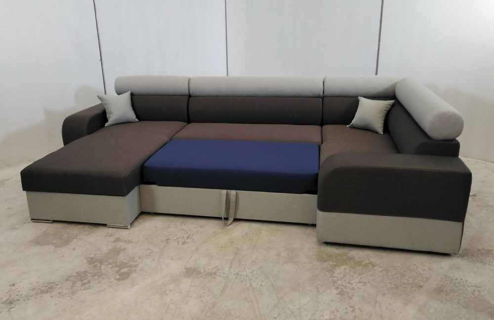 U shaped sofa with chaise longue and pull out bed milan for Sofa cama chaise longue piel