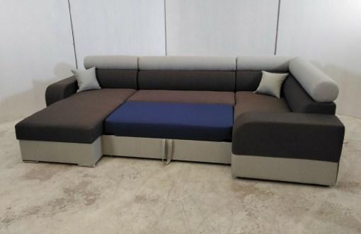 Cama. Sofá rinconera grande en U con chaise longue y cama - Milan