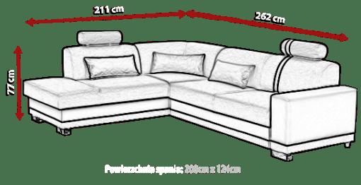 Medidas. Sofá rinconera cama con arcón - Fiji