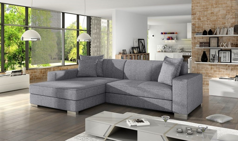 Grey Fabric Chaise Longue Sofa with Pull out Bed Maldives Don