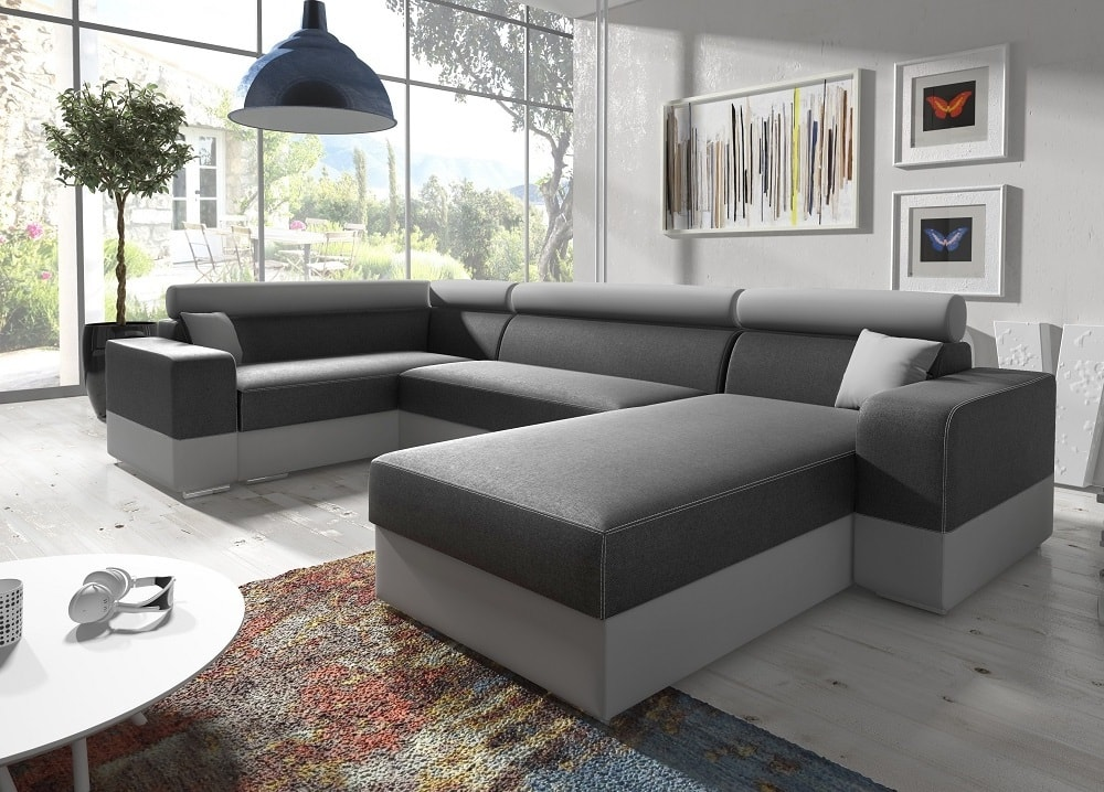 U shaped sofa with chaise longue and pull out bed milan for Sofa 1 plaza chaise longue
