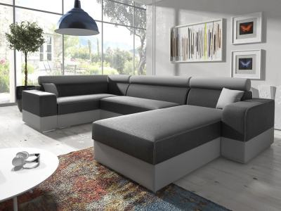 Spacious U-shaped sofa with pull-out bed (Left Corner, Right Chaise Longue) - Milan