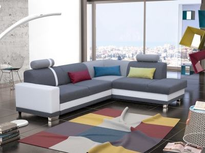 Corner Sofa with Pull-out Bed and Storage. Grey Fabric and White Synthetic Leather. Right Corner - Fiji