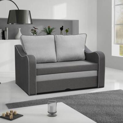 Pequeño sofá cama en color gris - Trieste. Cojines gris claro