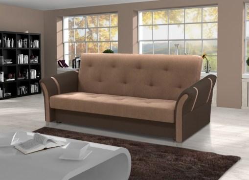 Sofá cama plegable Siena. Combinación de colores muna 3 (marrón claro) + muna 6 (marrón oscuro)