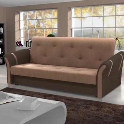Light Brown and Dark Brown Fabrics. Folding Sofa Bed - Siena