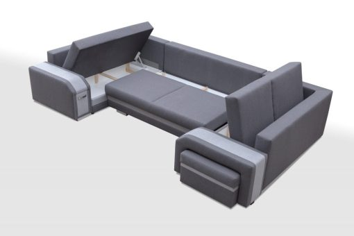 Three Storage Compartments. Spacious U-shaped Sofa Bed with 3 Storages - Baia