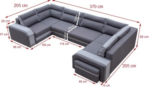 Dimensions. Spacious U-shaped Sofa Bed with 3 Storages - Baia