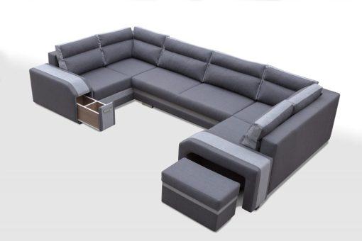 """Выдвижной пуф и боковой минибар. Большой диван-кровать в форме """"П"""" с тремя отделениями для хранения - Baia"""