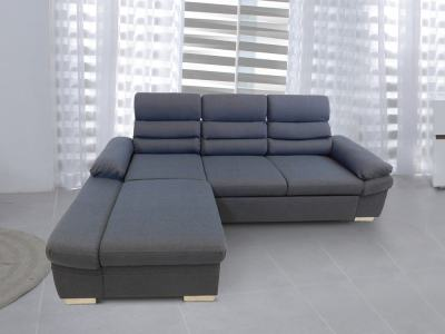 Chaise Longue Sofa Bed with Reclining Headrests - Capri. Grey Fabric, Left Corner