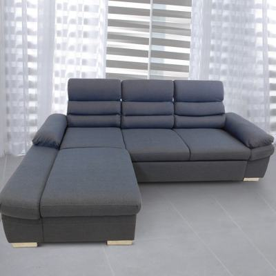Sofá chaise longue cama con arcón y reposacabezas reclinables. Tela gris, chaise longue izquierda - Capri