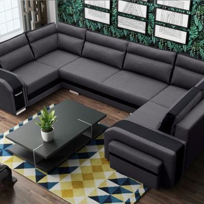 Sofá grande en forma de U con cama y 2 arcones - Baia. Color gris oscuro con rayas negras