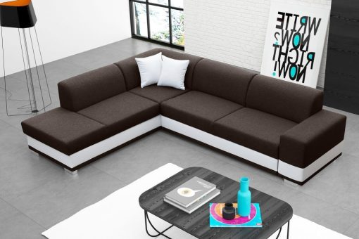 Modern Corner Sofa Bed with Cushions (Left Corner) - Barbados. Brown Fabric