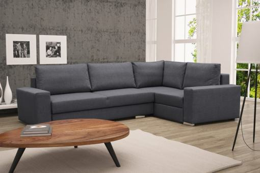 Corner Sofa with Folding Bed and Storage - Harbour. Grey Fabric, Right Corner