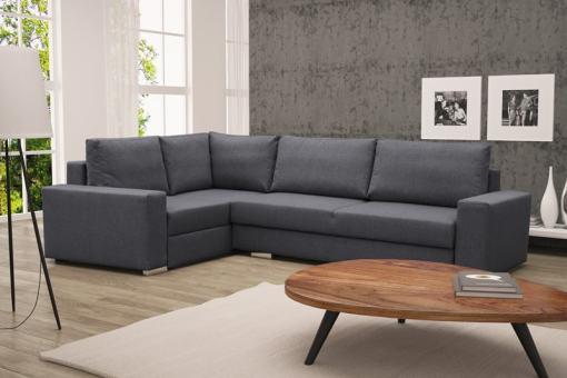 Sofá rinconera con cama plegable, esquina izquierda, color gris – Harbour
