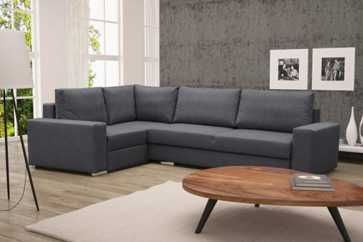 Corner Sofa with Folding Bed and Storage - Harbour. Grey Fabric, Left Corner