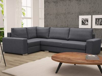 Corner Sofa with Folding Bed and Storage - Harbour. Dark Grey Fabric, Left Corner