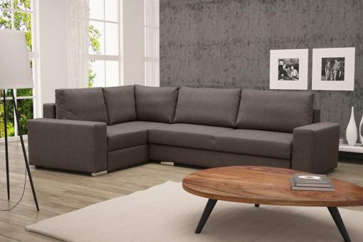 Sofá rinconera con cama plegable, esquina izquierda, color marrón – Harbour