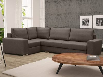 Corner Sofa with Folding Bed and Storage - Harbour. Brown Fabric, Left Corner