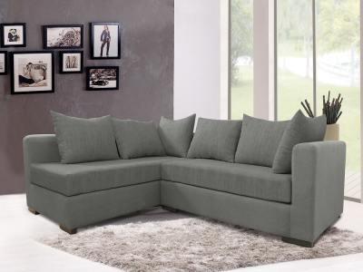 Fabric сorner sofa with сushions - Avignon. Grey fabric, corner on the left