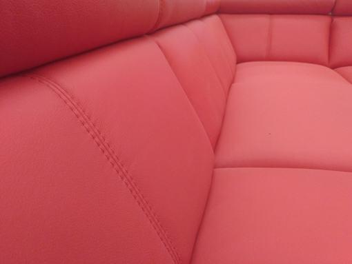 Asientos. Sofá rinconera en piel auténtica de color rojo - Verona-min
