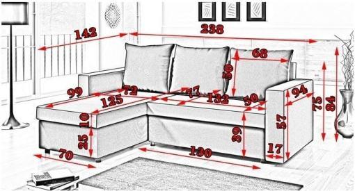 Размеры дивана. Раскладной диван-кровать с двумя ящиками для хранения - Turin
